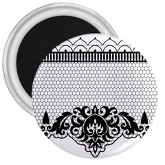 Transparent Lace Decoration 3  Magnets by Nexatart