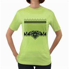 Transparent Lace Decoration Women s Green T Shirt