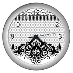 Transparent Lace Decoration Wall Clocks (silver)  by Nexatart