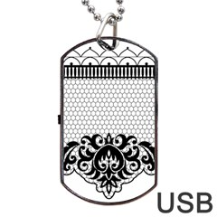 Transparent Lace Decoration Dog Tag Usb Flash (two Sides) by Nexatart