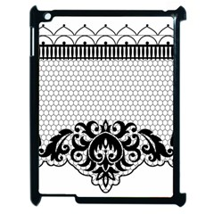 Transparent Lace Decoration Apple Ipad 2 Case (black) by Nexatart