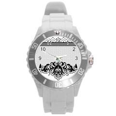 Transparent Lace Decoration Round Plastic Sport Watch (l)