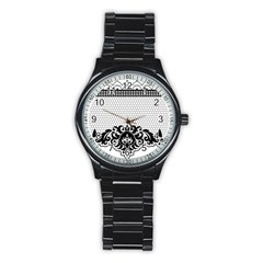 Transparent Lace Decoration Stainless Steel Round Watch by Nexatart