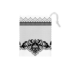Transparent Lace Decoration Drawstring Pouches (small)