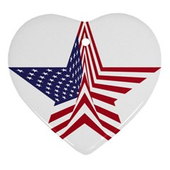 A Star With An American Flag Pattern Ornament (heart) by Nexatart