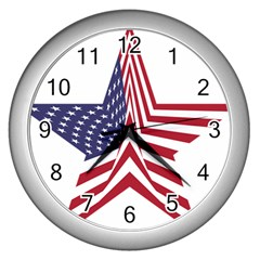 A Star With An American Flag Pattern Wall Clocks (silver)  by Nexatart
