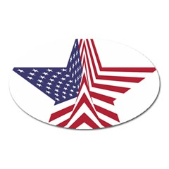 A Star With An American Flag Pattern Oval Magnet