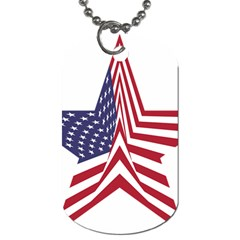 A Star With An American Flag Pattern Dog Tag (two Sides) by Nexatart