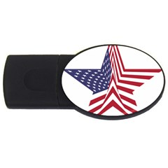 A Star With An American Flag Pattern Usb Flash Drive Oval (2 Gb)