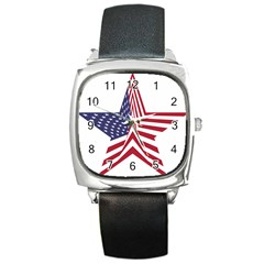 A Star With An American Flag Pattern Square Metal Watch