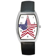 A Star With An American Flag Pattern Barrel Style Metal Watch by Nexatart