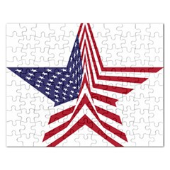 A Star With An American Flag Pattern Rectangular Jigsaw Puzzl