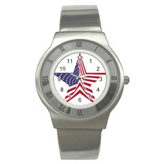 A Star With An American Flag Pattern Stainless Steel Watch by Nexatart