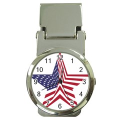 A Star With An American Flag Pattern Money Clip Watches by Nexatart