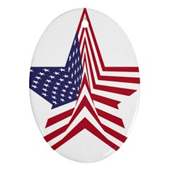 A Star With An American Flag Pattern Oval Ornament (two Sides)