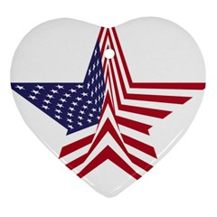 A Star With An American Flag Pattern Heart Ornament (two Sides)