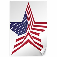 A Star With An American Flag Pattern Canvas 24  X 36