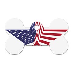 A Star With An American Flag Pattern Dog Tag Bone (two Sides) by Nexatart