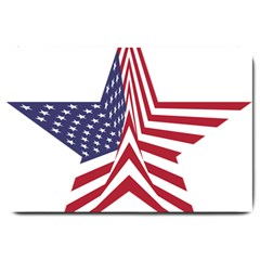 A Star With An American Flag Pattern Large Doormat  by Nexatart