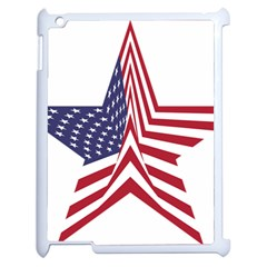 A Star With An American Flag Pattern Apple Ipad 2 Case (white)