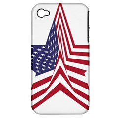 A Star With An American Flag Pattern Apple Iphone 4/4s Hardshell Case (pc+silicone)
