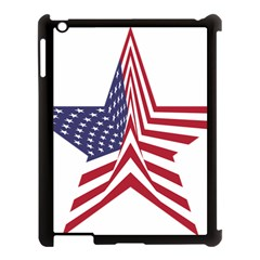 A Star With An American Flag Pattern Apple Ipad 3/4 Case (black)