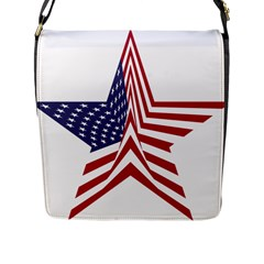 A Star With An American Flag Pattern Flap Messenger Bag (l)  by Nexatart