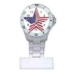 A Star With An American Flag Pattern Plastic Nurses Watch by Nexatart