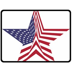 A Star With An American Flag Pattern Double Sided Fleece Blanket (Large)