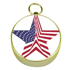A Star With An American Flag Pattern Gold Compasses