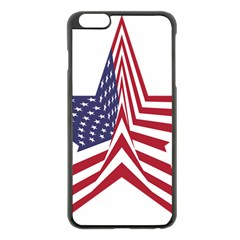 A Star With An American Flag Pattern Apple Iphone 6 Plus/6s Plus Black Enamel Case by Nexatart