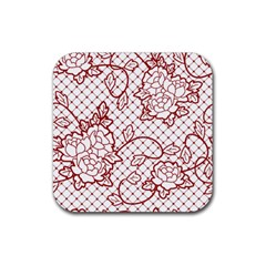 Transparent Decorative Lace With Roses Rubber Square Coaster (4 Pack)  by Nexatart