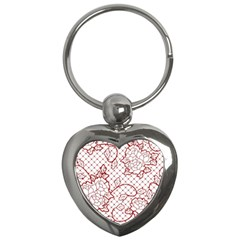 Transparent Decorative Lace With Roses Key Chains (heart)  by Nexatart