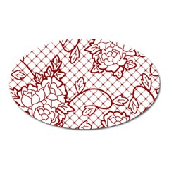 Transparent Decorative Lace With Roses Oval Magnet by Nexatart