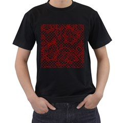 Transparent Decorative Lace With Roses Men s T Shirt (black) (two Sided)