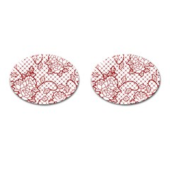 Transparent Decorative Lace With Roses Cufflinks (oval)