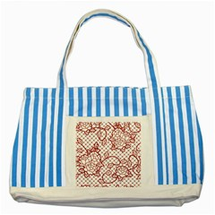 Transparent Decorative Lace With Roses Striped Blue Tote Bag