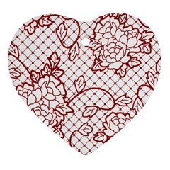 Transparent Decorative Lace With Roses Heart Ornament (two Sides)