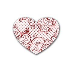 Transparent Decorative Lace With Roses Heart Coaster (4 Pack)  by Nexatart