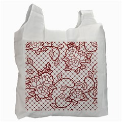 Transparent Decorative Lace With Roses Recycle Bag (two Side)  by Nexatart