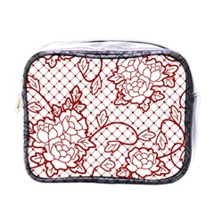 Transparent Decorative Lace With Roses Mini Toiletries Bags by Nexatart