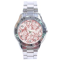Transparent Decorative Lace With Roses Stainless Steel Analogue Watch