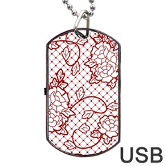 Transparent Decorative Lace With Roses Dog Tag Usb Flash (two Sides)