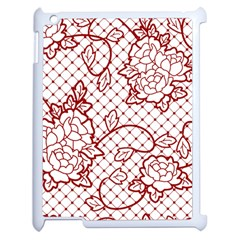 Transparent Decorative Lace With Roses Apple Ipad 2 Case (white) by Nexatart