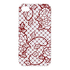 Transparent Decorative Lace With Roses Apple Iphone 4/4s Hardshell Case by Nexatart