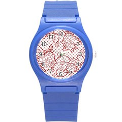 Transparent Decorative Lace With Roses Round Plastic Sport Watch (s) by Nexatart