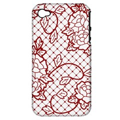 Transparent Decorative Lace With Roses Apple Iphone 4/4s Hardshell Case (pc+silicone) by Nexatart
