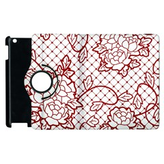 Transparent Decorative Lace With Roses Apple Ipad 3/4 Flip 360 Case by Nexatart