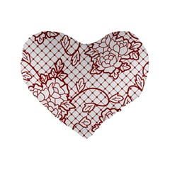 Transparent Decorative Lace With Roses Standard 16  Premium Heart Shape Cushions