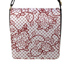 Transparent Decorative Lace With Roses Flap Messenger Bag (l)